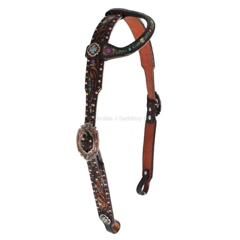 H633 - Black Vintage Tooled Headstall Tack