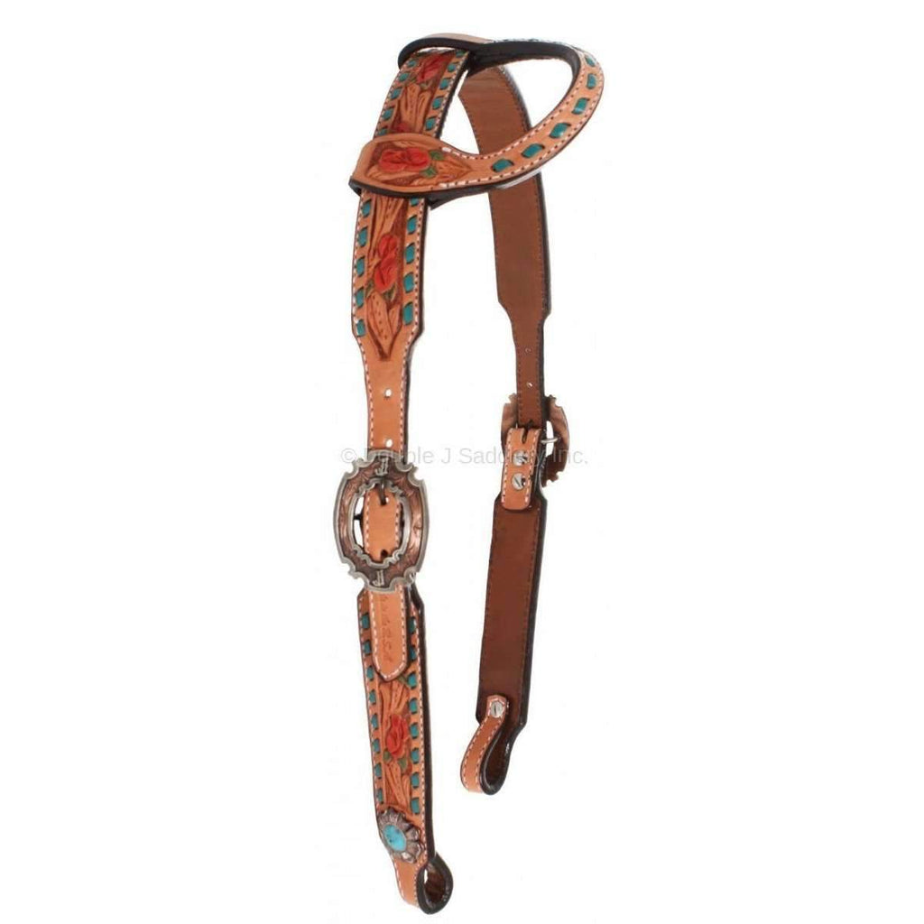 Natural Leather Rose Tooled Single Ear Headstall