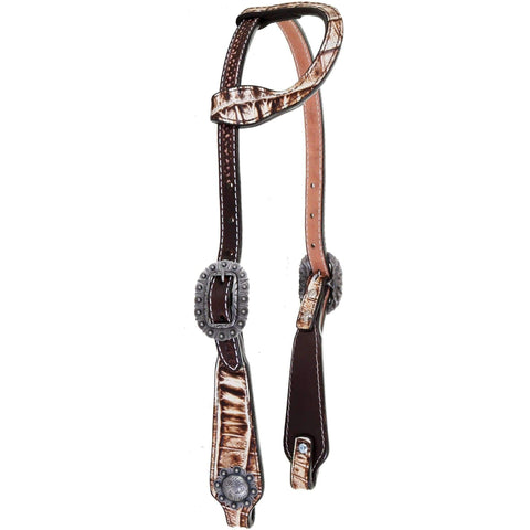 H1145 - Cream Vintage Gator Print Overlay Single Ear Headstall