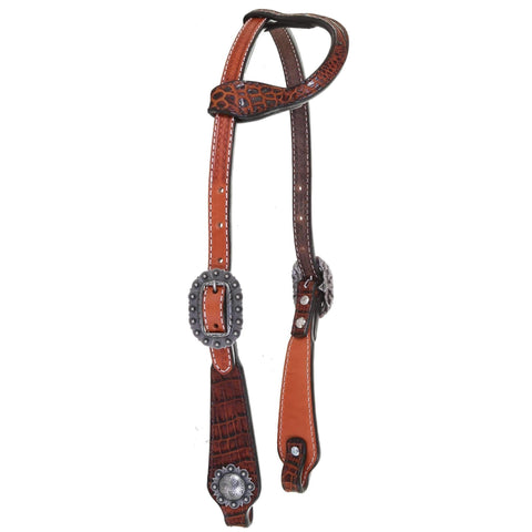H1147 - Autumn Crocodile Print Overlay Single Ear Headstall
