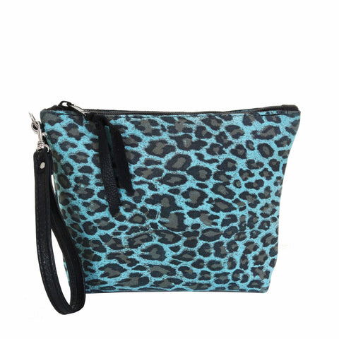 LMP08 - Cheetah Turquoise Suede Print Makeup Pouch