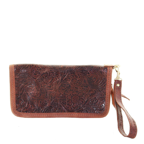LZW13 - Cowboy Floral Brown Ladies Zipper Wallet