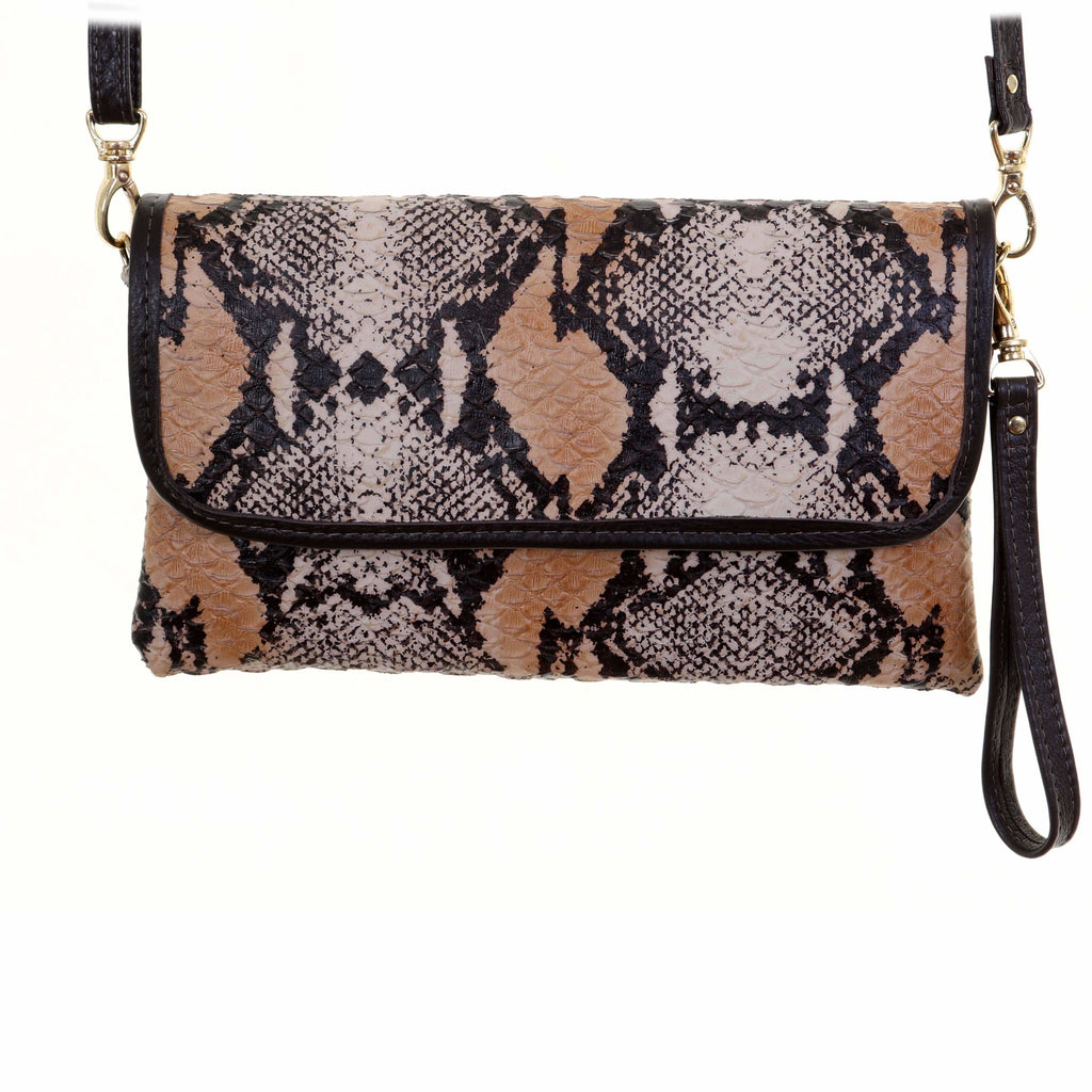 SC58 - Natural Python Print Simple Clutch
