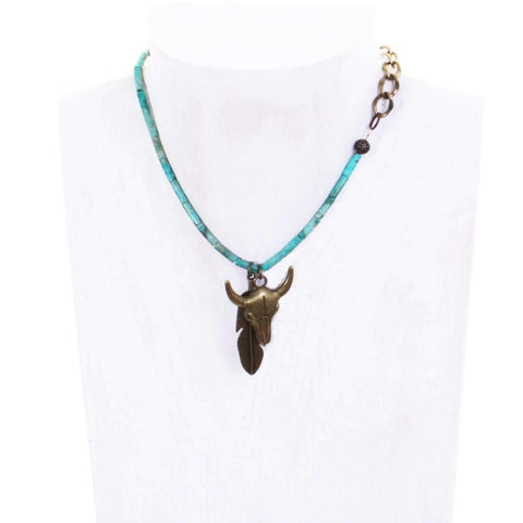 VN84 - Vestige Steerhead and Feather Necklace