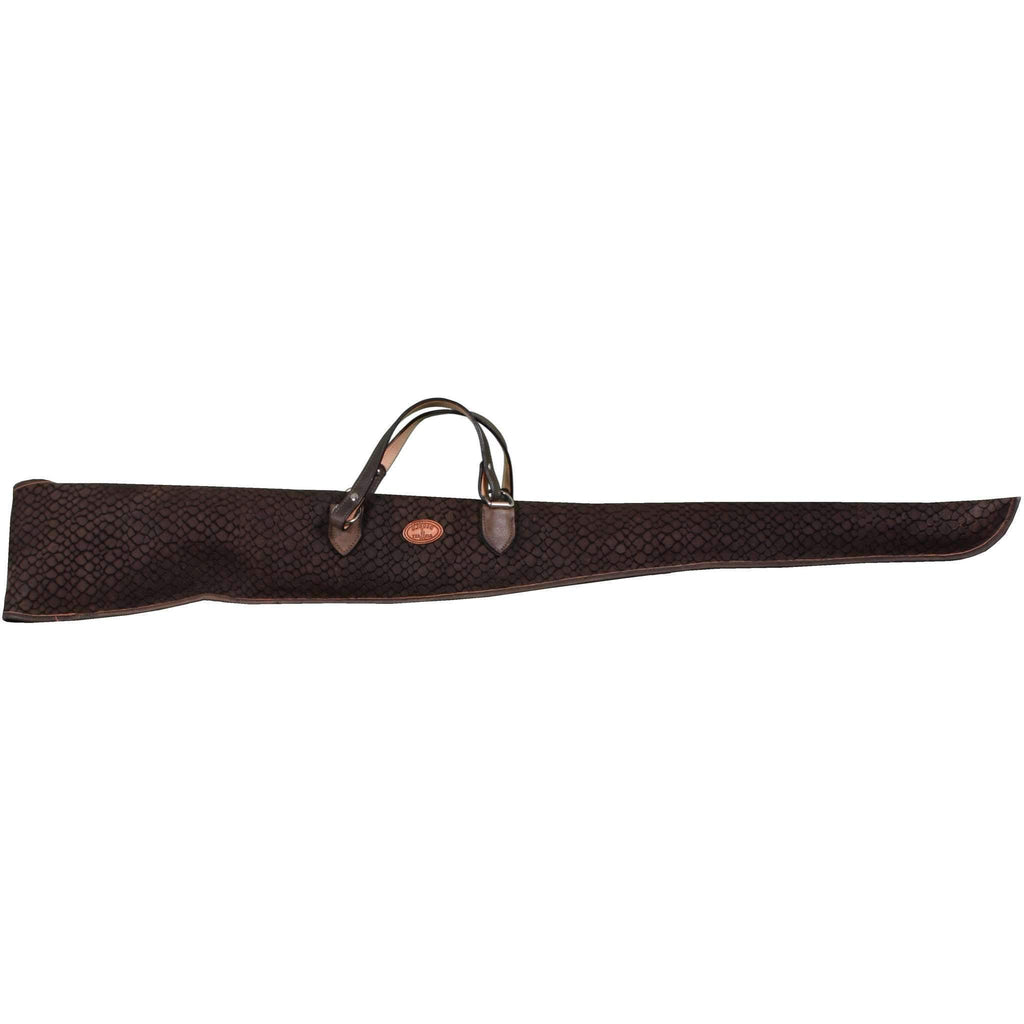 GCS19 - Brown Gator Print Suede Gun Case - Double J Saddlery