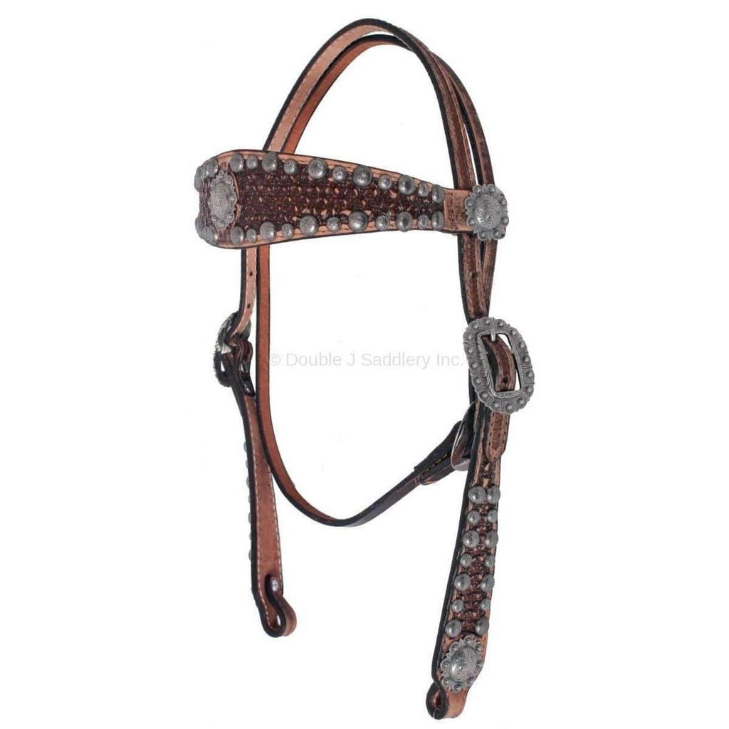 H035 - Vintage Brown Hand-Tooled Headstall - Double J Saddlery