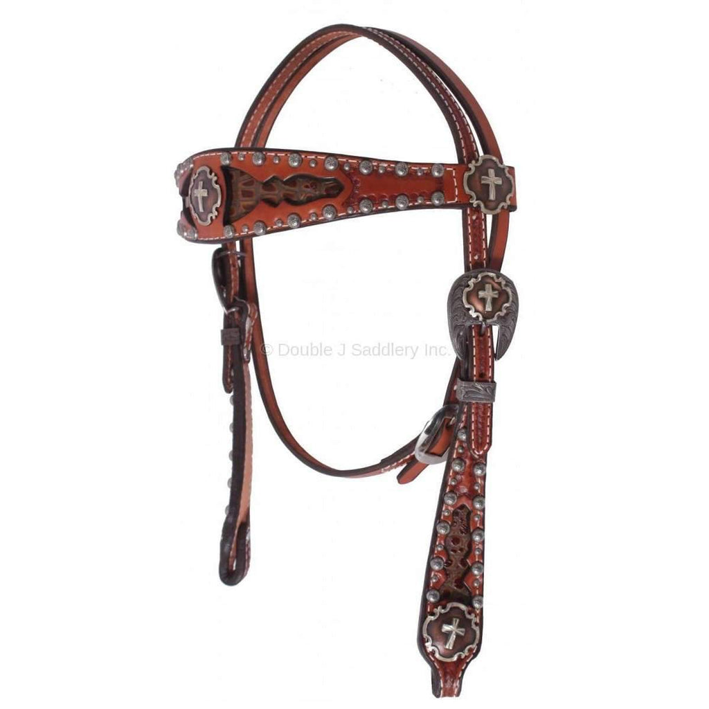 H040 - Chestnut Leather Inlayed Headstall - Double J Saddlery