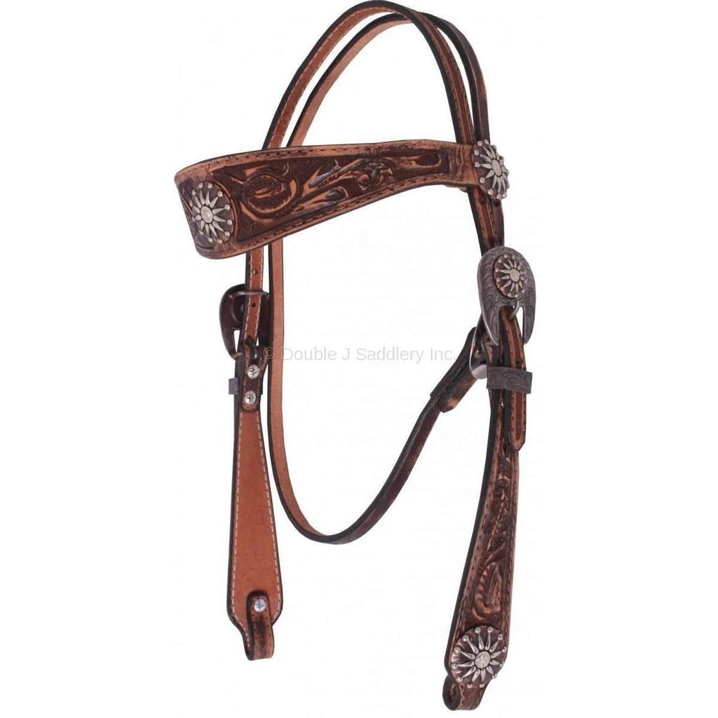 H106 - Brown Vintage Hand-Tooled Headstall - Double J Saddlery