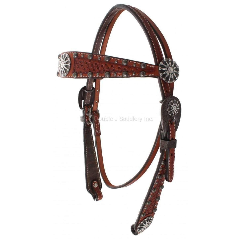 H1130 - Chestnut Leather Tooled Headstall - Double J Saddlery