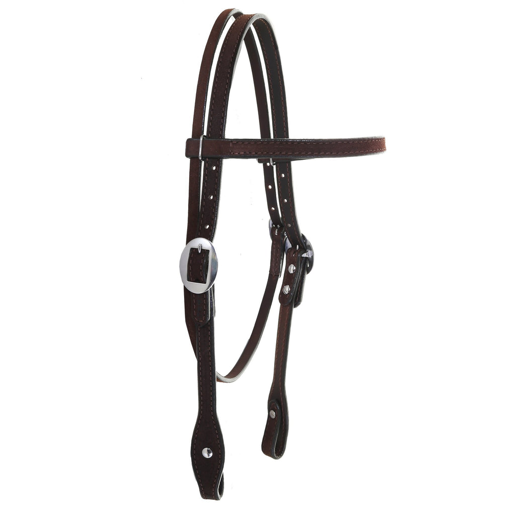 H1222 - FAST SHIP Brown Rough Out Browband Headstall - Double J Saddlery