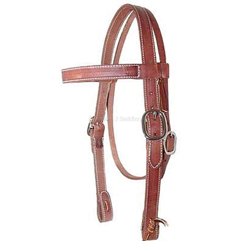H162 - Harness Leather Straight Browband Headstall - Double J Saddlery