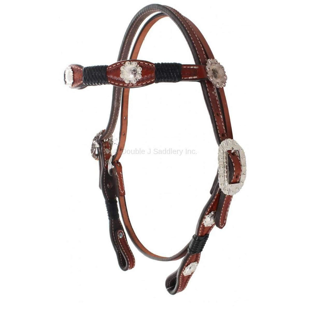 H173 - Chestnut Scalloped Headstall - Double J Saddlery