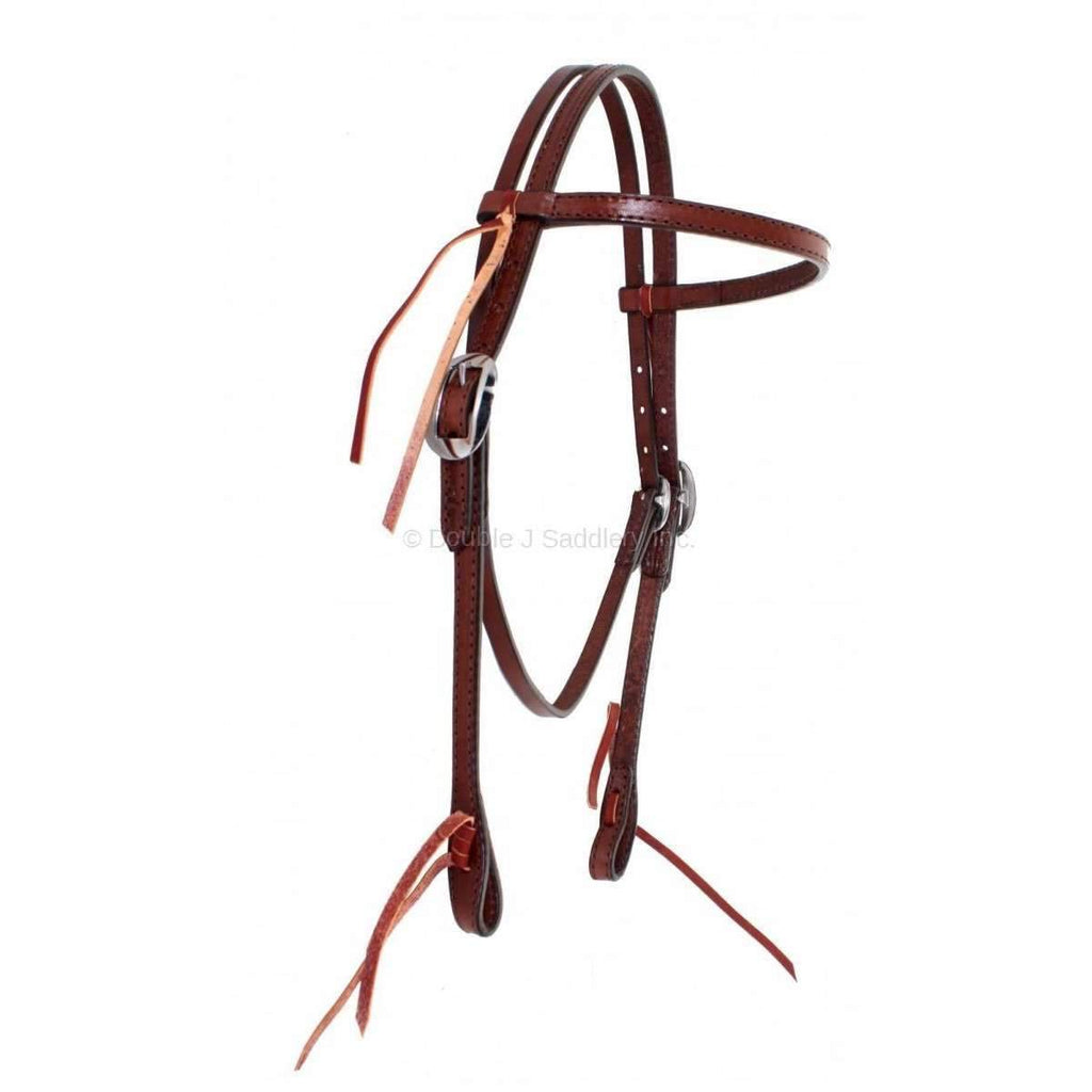H222A - Brown Leather Headstall - Double J Saddlery