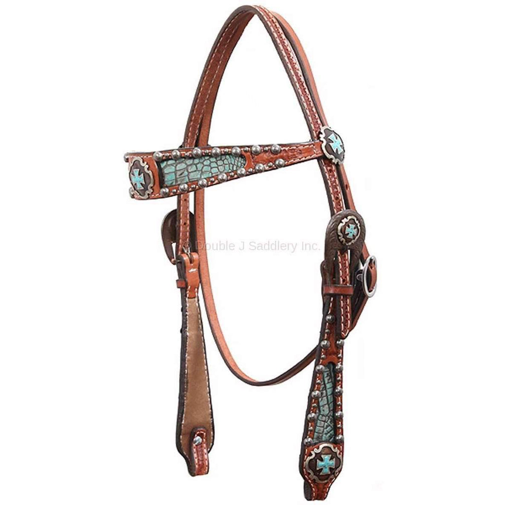 H419 - Chestnut Leather Inlayed Headstall - Double J Saddlery