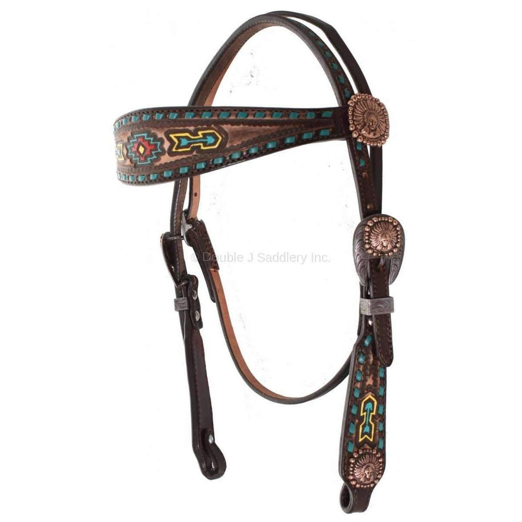 H609 - Painted Southwest Design Headstall - Double J Saddlery