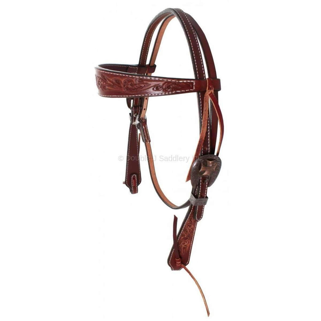 H645 - Cognac Vintage Tooled Headstall - Double J Saddlery