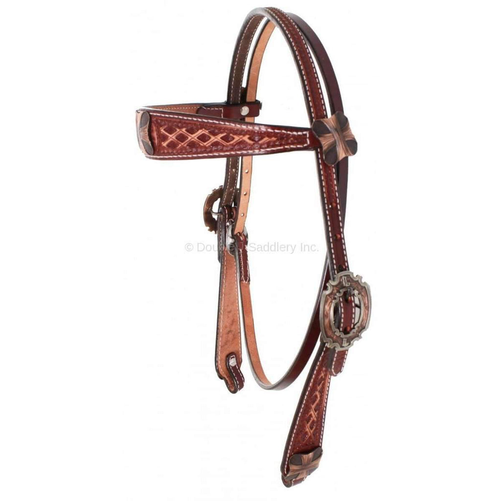 H649 - Cognac Vintage Tooled Headstall - Double J Saddlery