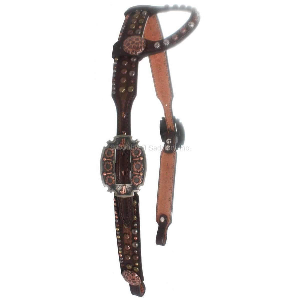 H670 - Brown Vintage Mixed Dots Headstall - Double J Saddlery