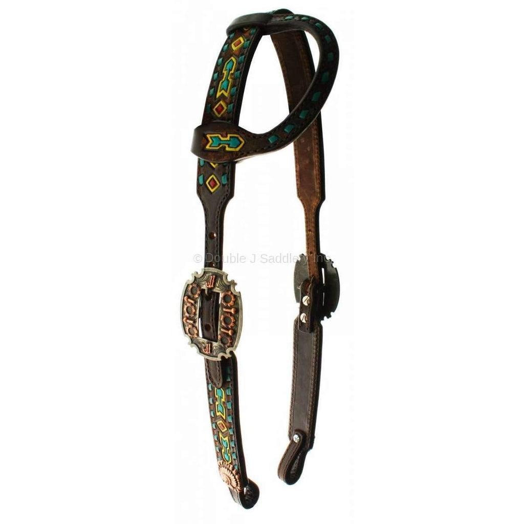 H691 - Painted Southwest Design Single Ear Headstall - Double J Saddlery