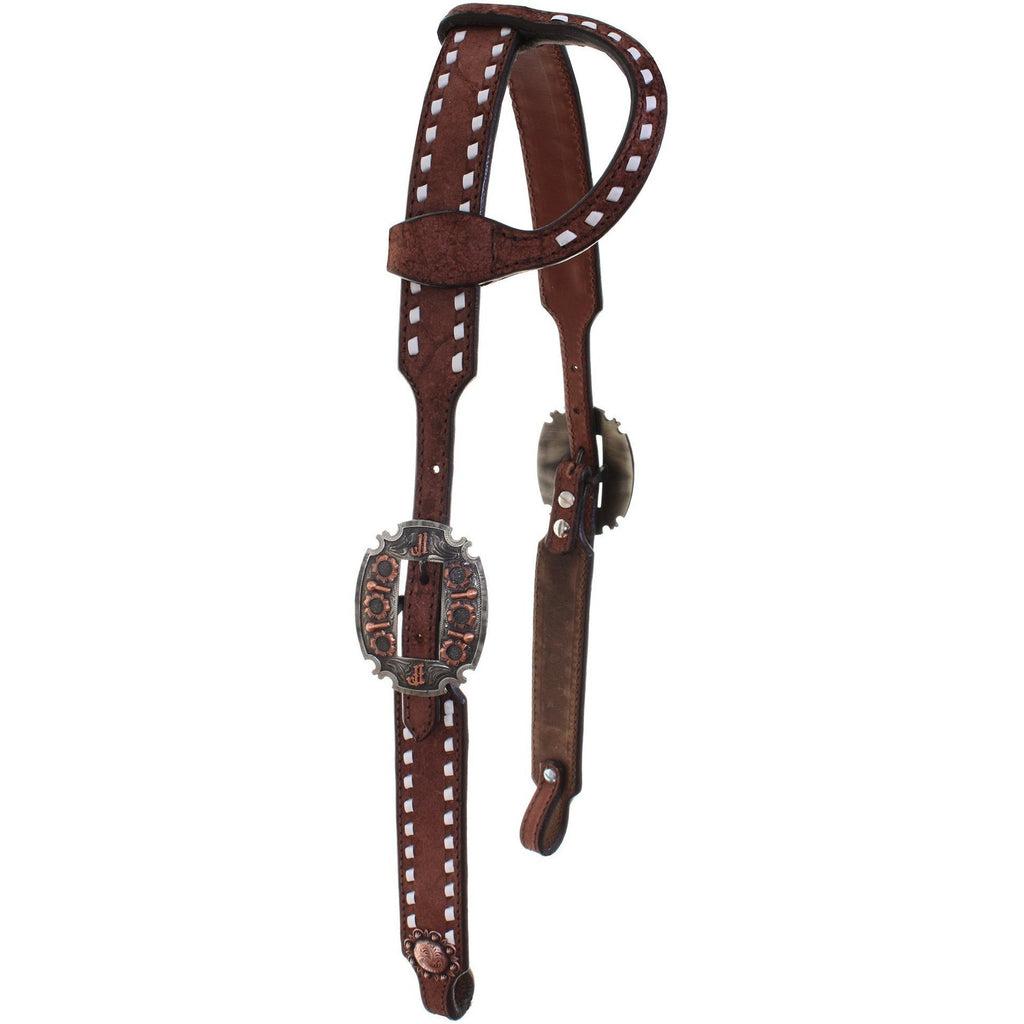 H706A - Brown Rough Out Single Ear Headstall - Double J Saddlery