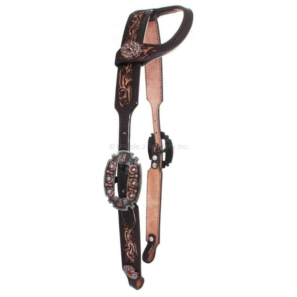 H708 - Brown Vintage Single Ear Tooled Headstall - Double J Saddlery