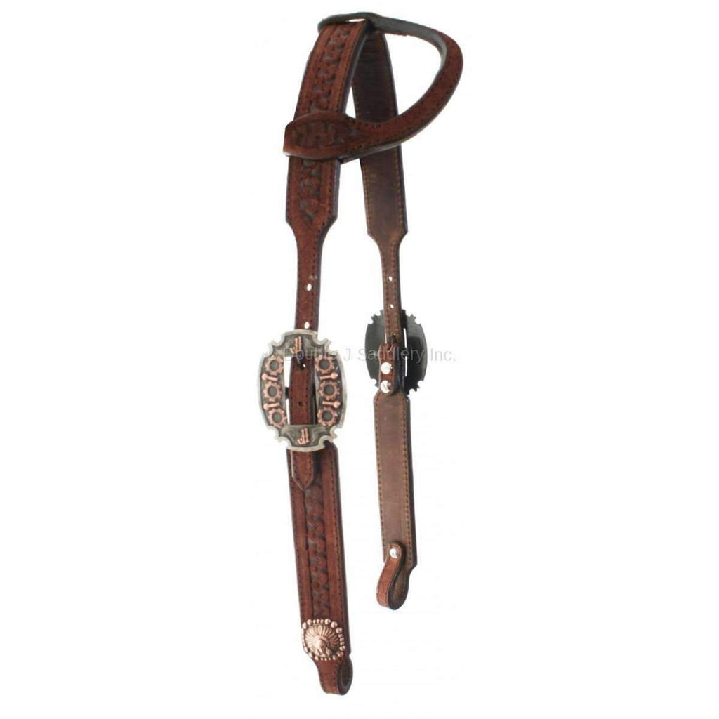 H710 - Brown Rough Out Single Ear Headstall - Double J Saddlery