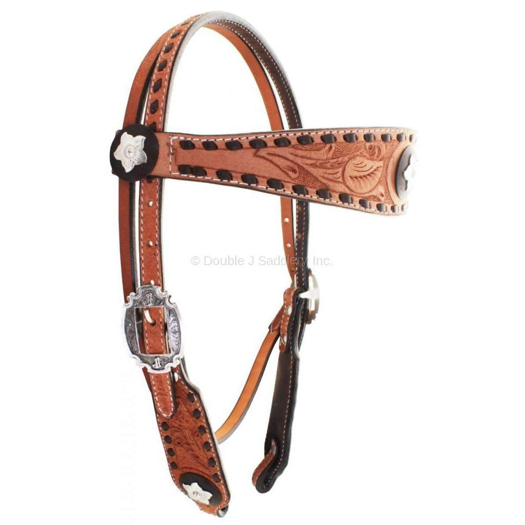 H713 - Natural Rough Out with Pozzi Floral Tooling - Double J Saddlery