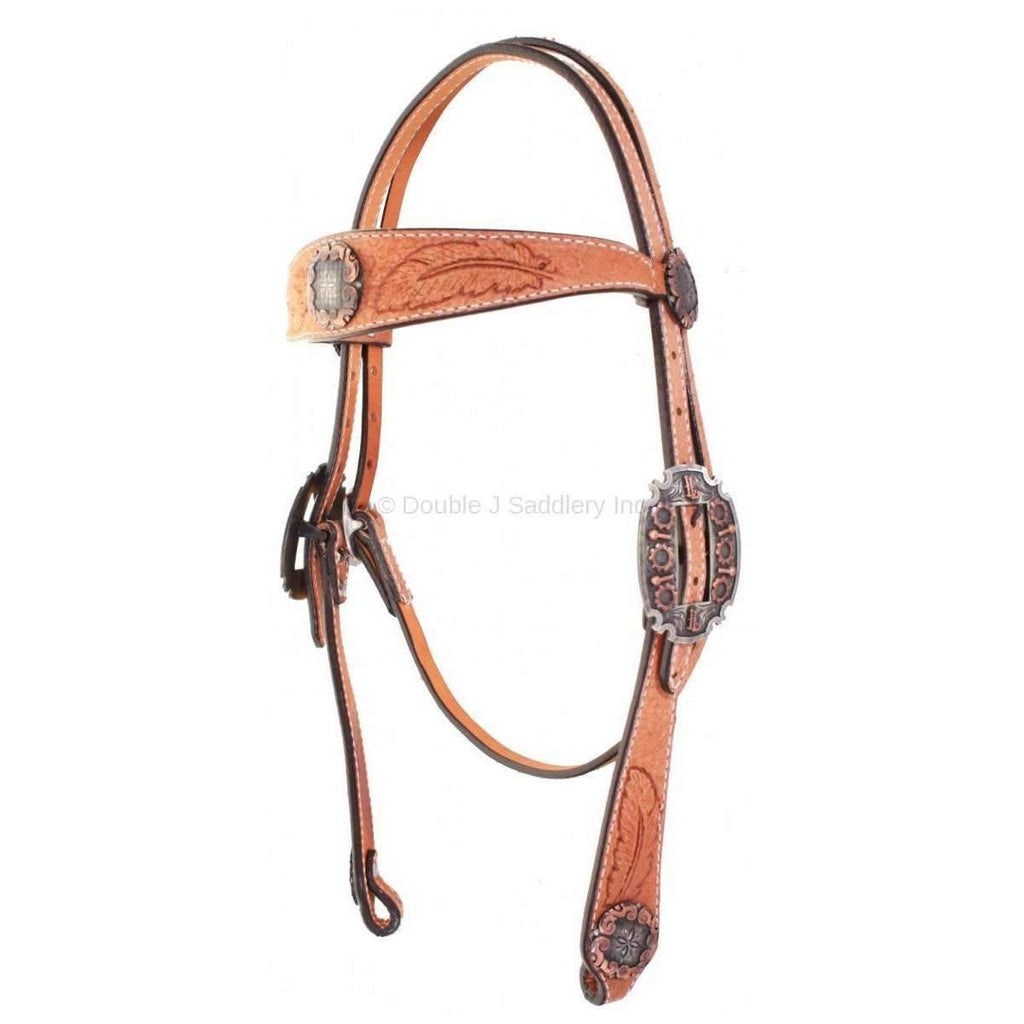 H744 - Natural Rough Out Feather Tooled Headstall - Double J Saddlery