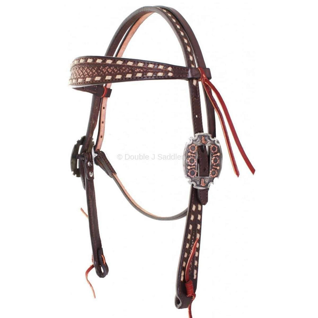 H755 - Brown Vintage Tooled Headstall - Double J Saddlery