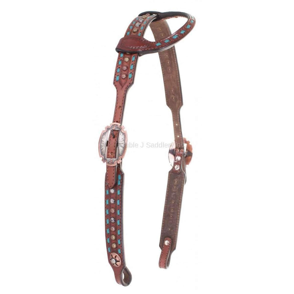 H777 - Brown Leather Single Ear Headstall - Double J Saddlery