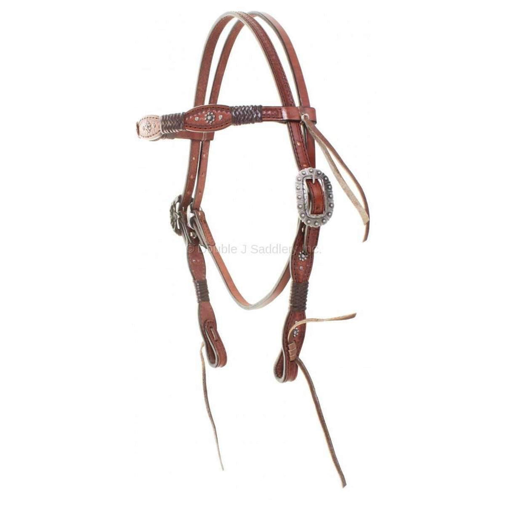 H795 - Brown Leather Scalloped Braided Headstall - Double J Saddlery