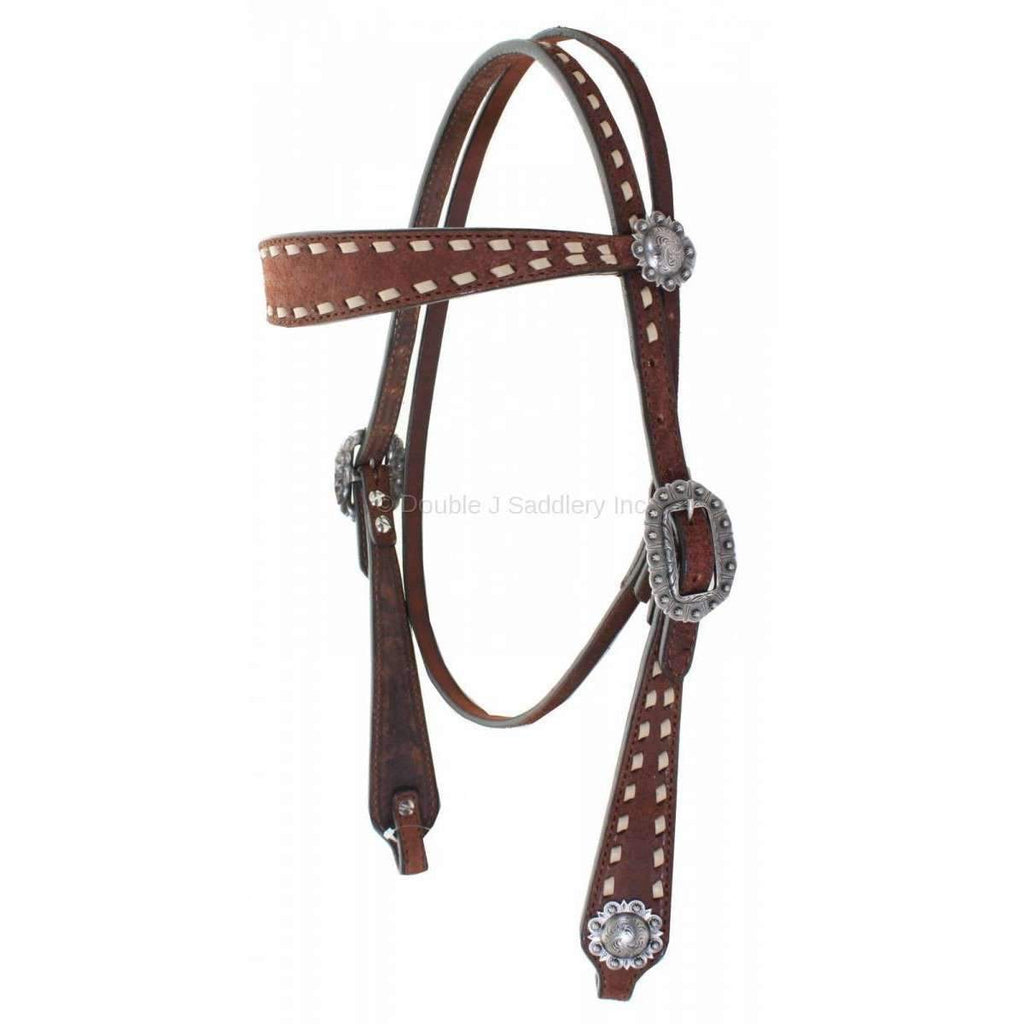 H823C - Brown Rough Out Buck Stitched Headstall - Double J Saddlery