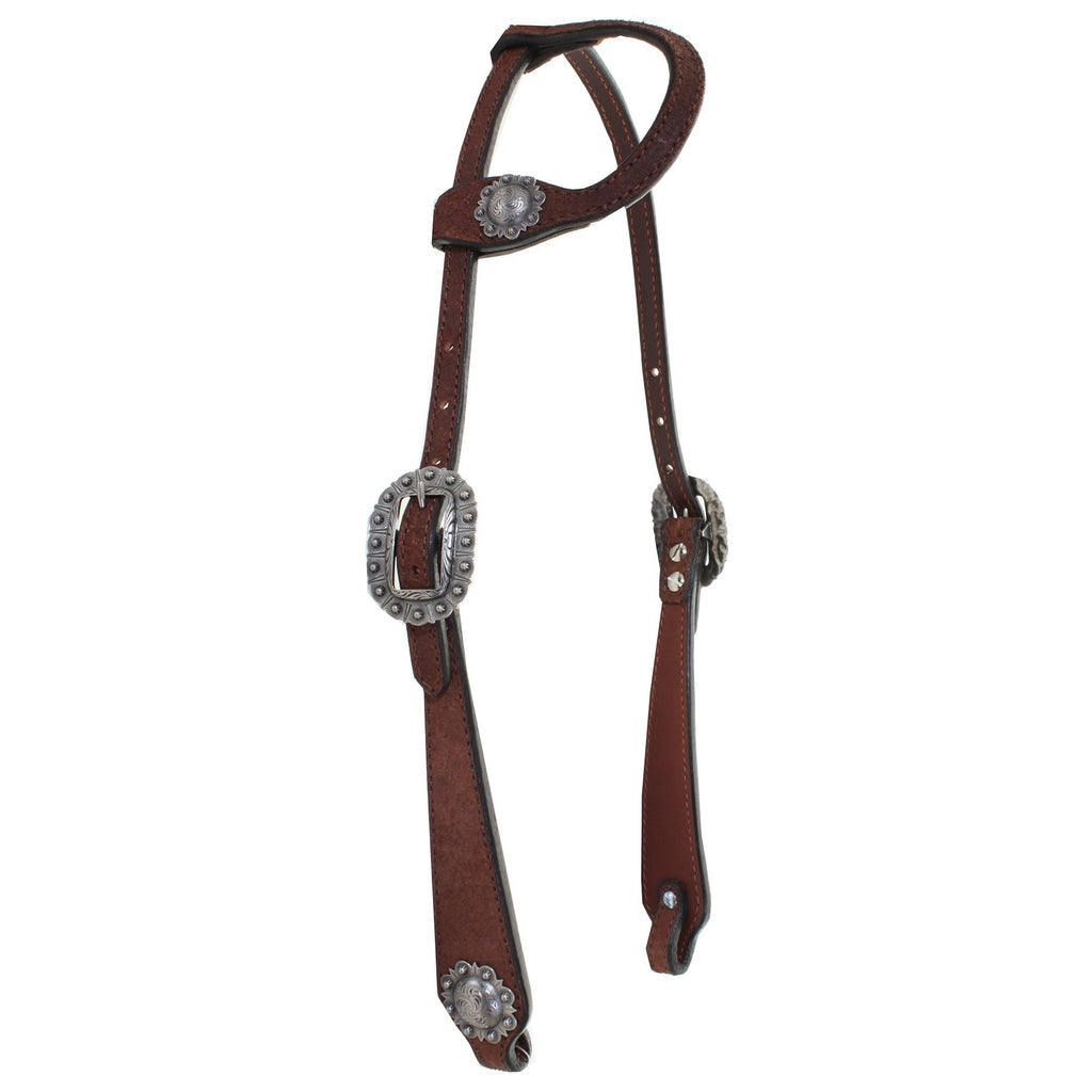 H824A - FAST SHIP Brown Rough Out Single Ear Headstall - Double J Saddlery