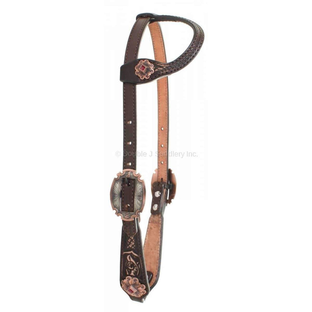 H841 - Brown Vintage Single Ear Headstall - Double J Saddlery