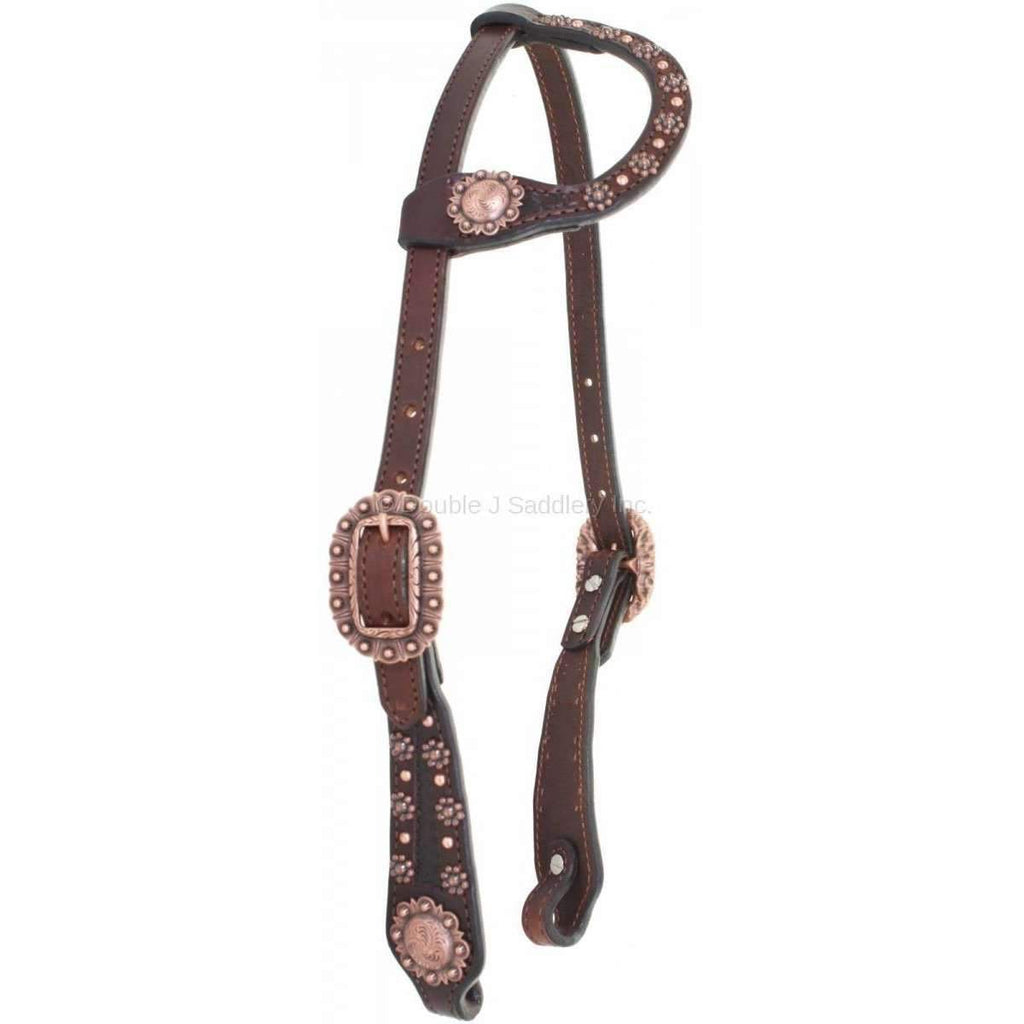 H849 - Brown Leather Single Ear Headstall - Double J Saddlery