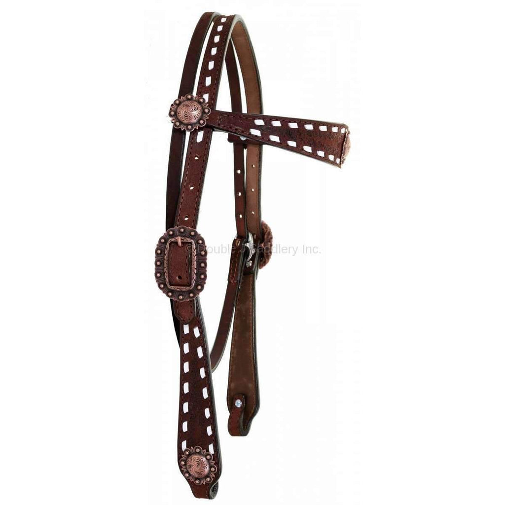 H919 - Brown Leather Buck Stitched Headstall - Double J Saddlery