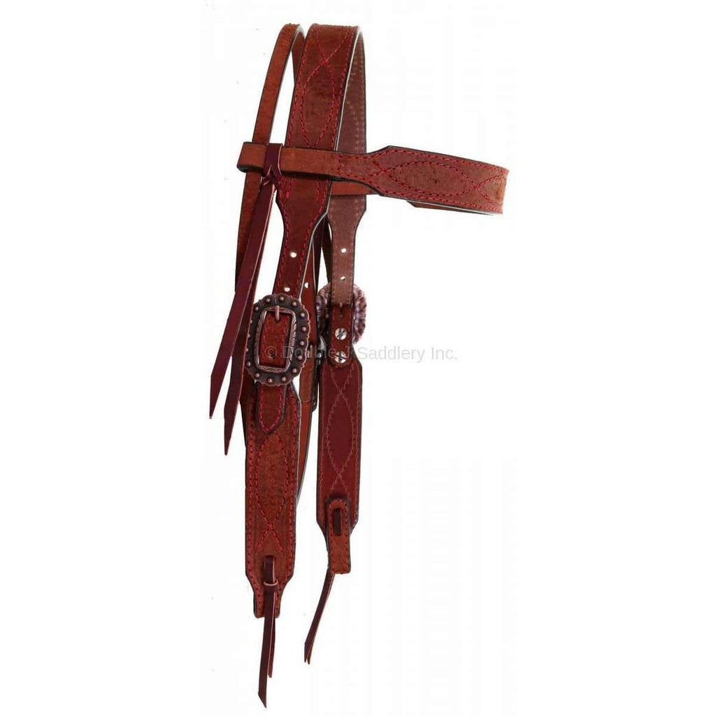H926 - Chestnut Rough Out Stitched Headstall - Double J Saddlery