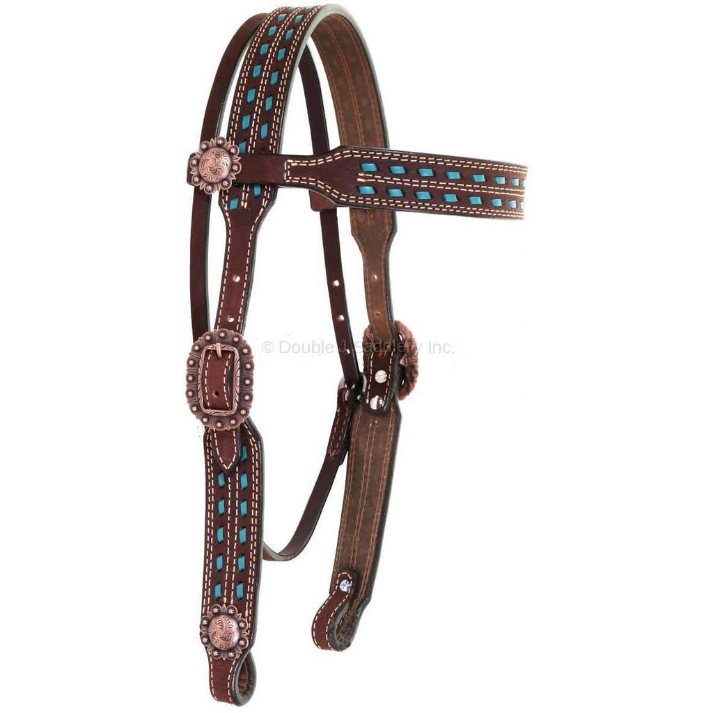 H939 - Brown Rough Out Buck Stitched Headstall - Double J Saddlery
