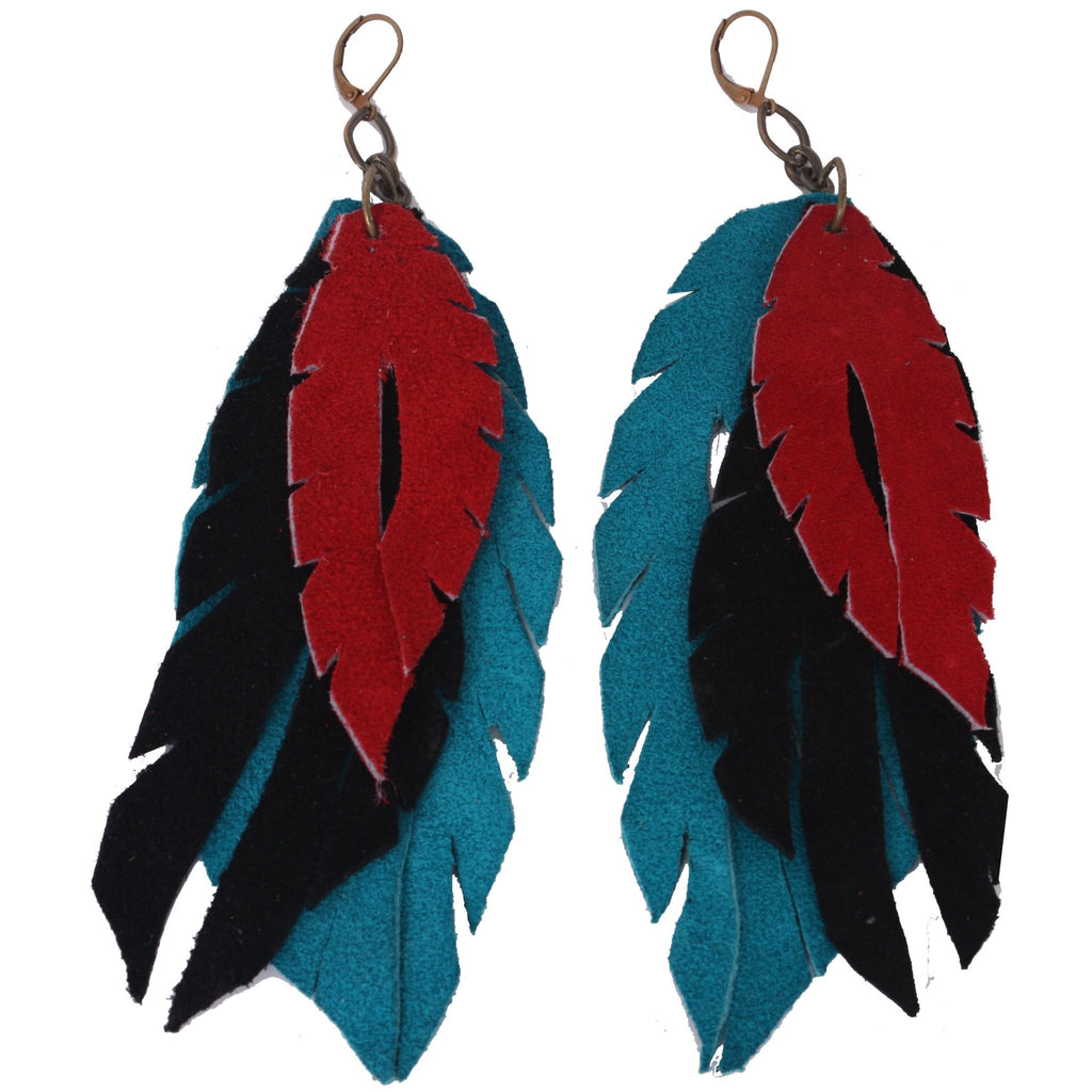 J32 - Three Layer Leather Feather Earrings - Double J Saddlery