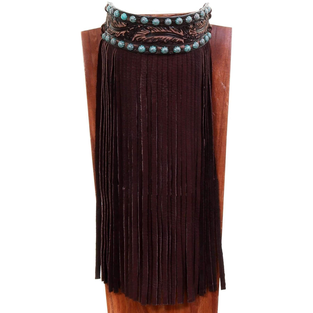 J80 - Brown Vintage Feather Tooled Choker - Double J Saddlery