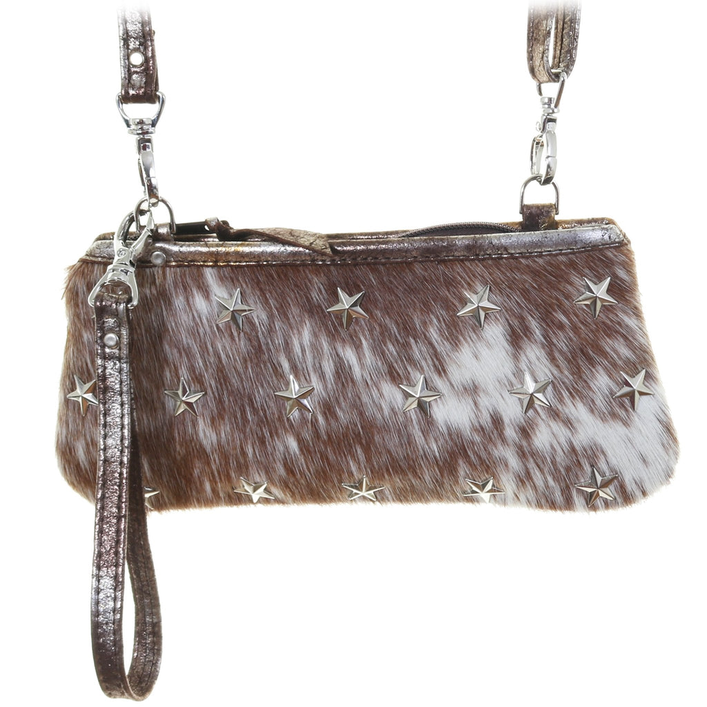 LC88 - Roan Cowhide Star Studded Little Clutch - Double J Saddlery