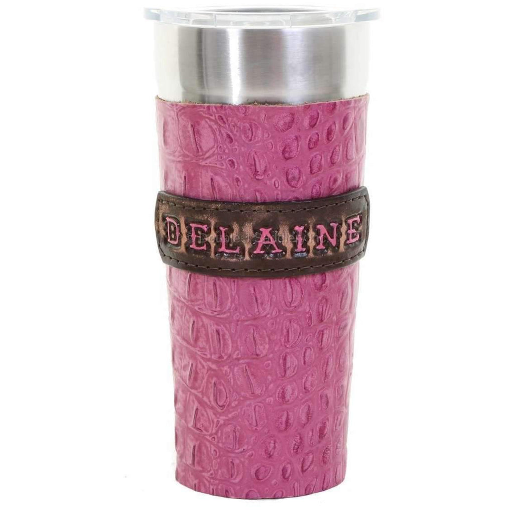 LEATHERWRAP01CC - Pink Gator Print Leather Wrap and Name Plaque - Double J Saddlery