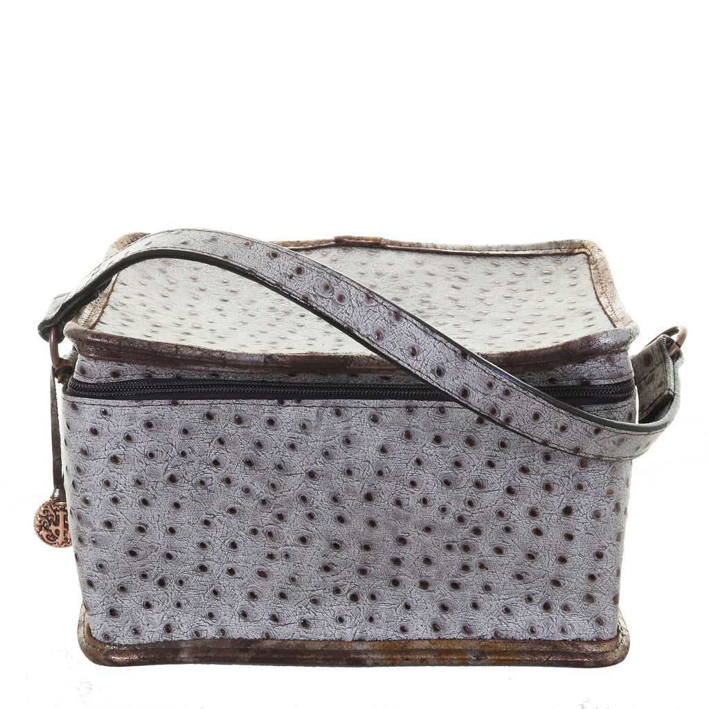 MB44 - Grey and Copper Metallic Ostrich Print Makeup Tote - Double J Saddlery
