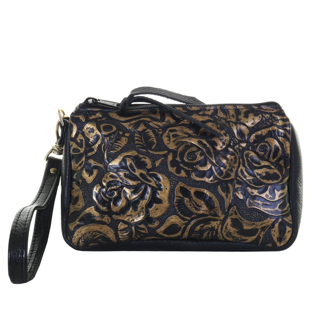 MPG120 - Antique Black and Gold Floral Makeup Pouch - Double J Saddlery