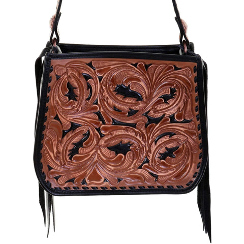 SDB04 - Pecan Vintage Tooled Small Doctor's Bag - Double J Saddlery
