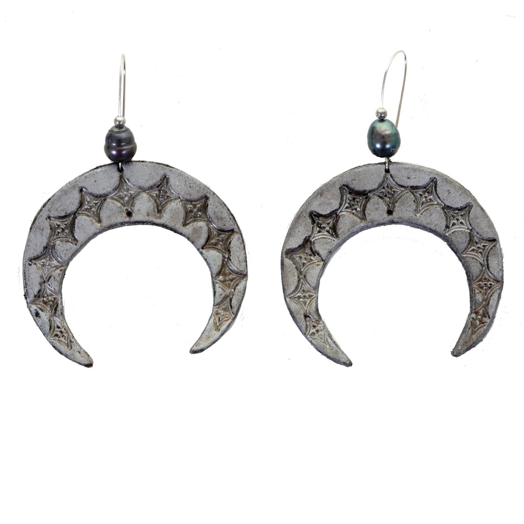 VE79 - Vestige Crescent Moon Leather Earrings - Double J Saddlery