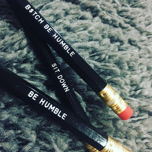 "Set of 3 black & white ""HUMBLE"" Pencils."