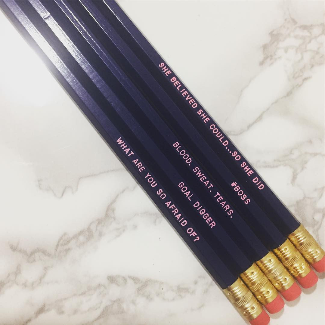 Set of 4 Navy & Pink Boss Personalized Pencils.