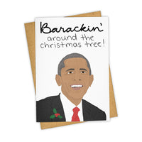 Barackin Around Christmas, Holiday, Stationary Card