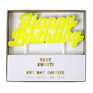 Toot Sweet Yellow Happy Birthday Candle